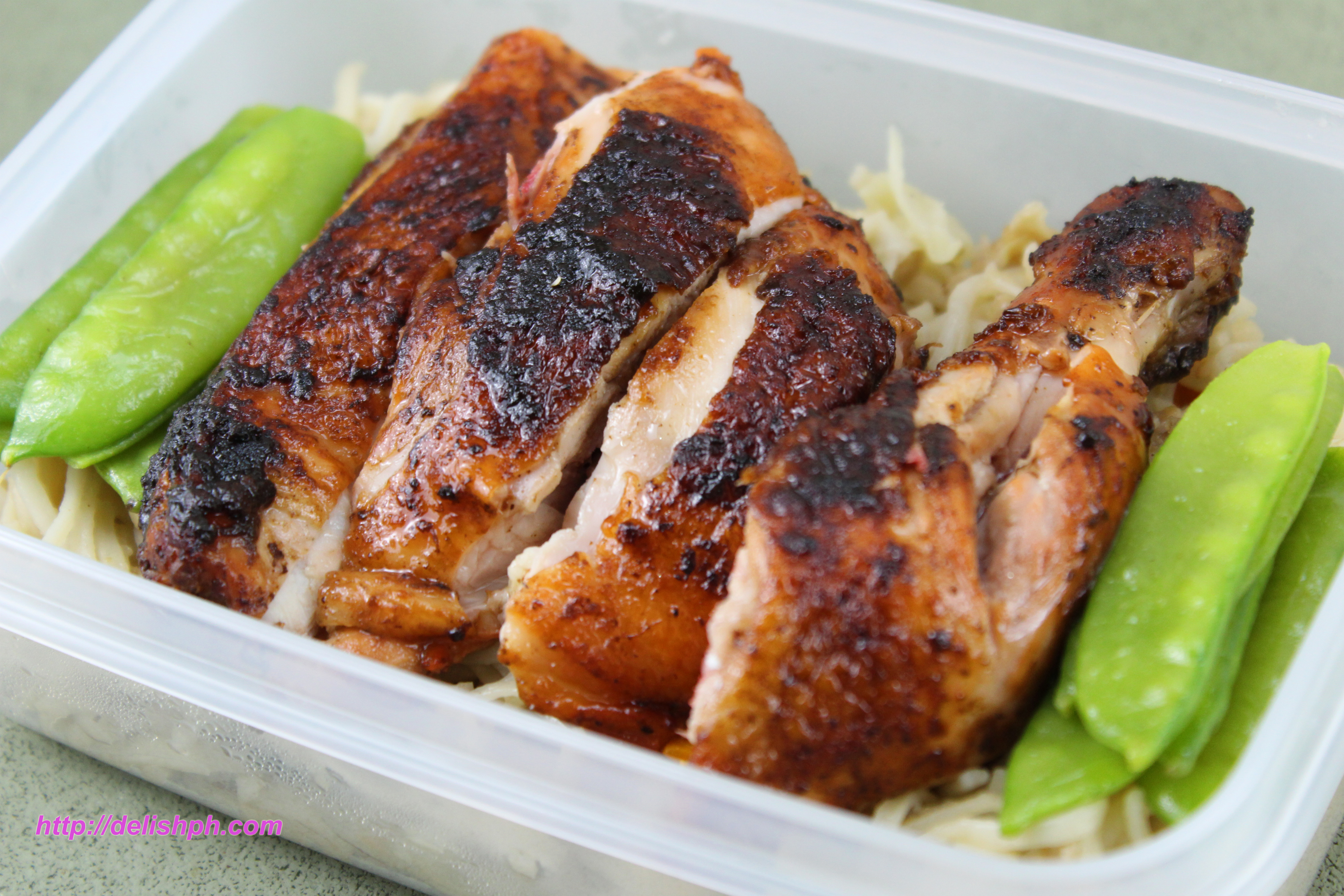Easy Pancit Canton with Chicken Barbeque