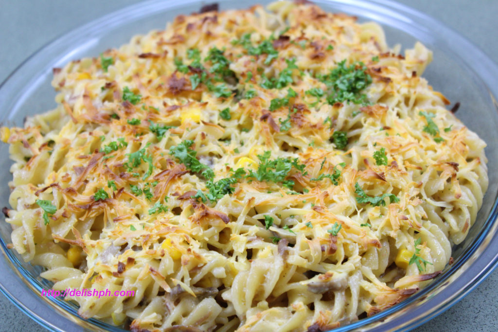 Tuna and Mushrooms Fusilli Bake